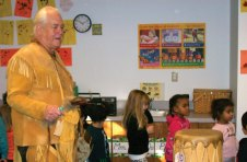 The children at Naugatuck Day Care recently welcomed Bill Gloade, who's Indian name is Mi'kmaq, to the center. Gloade talked to the children about his tribe, Native American history, culture, and dancing. Gloade taught the children and staff an authentic Indian dance. Gloade's visit was to celebrate November being American Indian Heritage Month. -CONTRIBUTED