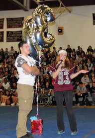 Naugatuck High held its annual pep rally Thanksgiving Eve. Students performed skits, including ones lightheartedly mocking school administrators, and recognized senior football players. –PHOTO BY LUKE MARSHALL