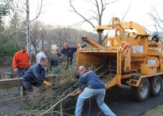 Volunteers from Beacon Hose Co. No. 1 organized a work detail to help clear brush from along Naugatuck River Greenway Nov. 10. A dozen members of the fire company were on hand with chainsaws and brush trimmers to cut back overgrowth and create a more scenic view of the river from the walking path. Local contractor Charles Edwards donated the use of his wood chipper and his time to the effort as well. The volunteers spent 10 hours on the project, which is still not complete. Another work session will be planned to finish off the project. –CONTRIBUTED