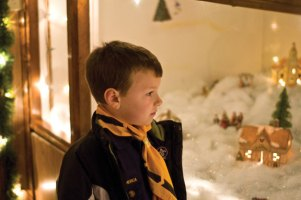Hunter Bernier, 7, of Beacon Falls gazes into a holiday display during a visit to the Naugatuck Park and Recreation Department's Santa's Village Dec. 14.-LUKE MARSHALL