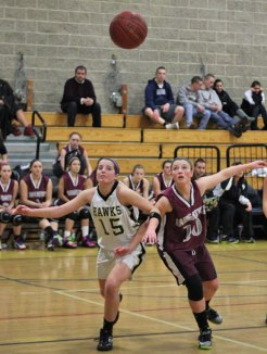 The Naugatuck and Woodland girls basketball teams faced off Jan. 11 in Beacon Falls. The Greyhounds came out on top with a 41-35 win. –ELIO GUGLIOTTI