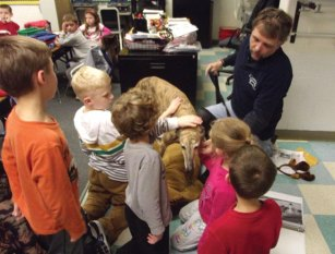 First graders at Laurel Ledge Elementary School in Beacon Falls recently received a visit from Mo, a therapy dog owned by Beacon Falls resident Brian Ploss, who is certified through Therapy Dogs Inc. Mo is a 6-and-a-half year old retired greyhound, who raced under the name Kool Moment. Students were able to learn about all the various visits Ploss and Mo make, which include Griffin Hospital through an organization called P.A.W.S (People and Animals Working in Spirit) and at read-a-thons at local libraries. They also do meet and greets at various PETCO stores with the PUPS organization to help find homes for retired greyhounds. -CONTRIBUTED