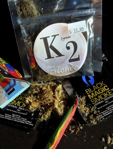 Up until 2011 synthetic marijuana products, like K2, were legal to sell. They were marketed as herbal incense, but when smoked can have side effects including rapid heartbeat, aggression, aggravation, irritability and permanent cardiovascular damage. –RA ARCHIVE