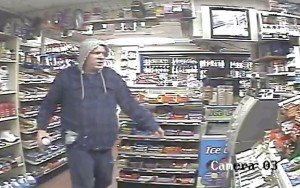 Anthony Simons, 44, of West Haven, identified himself as the man in this surveillance photo of an Oct. 23 attempted robbery at the Citgo station at 800 New Haven Road in Naugatuck. Simons was charged Wednesday with committing a similar robbery about 20 minutes later in Prospect. –CONTRIBUTED