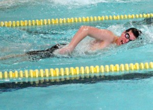 Woodland's Andy O'Dell races in the 200 free Jan. 18 versus Lyman Hall in Beacon Falls. O'Dell finished second in the race as Lyman Hall won the meet, 83-65. –ELIO GUGLIOTTI