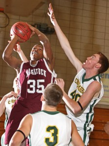 Naugatuck forward Husani Foote (35) has proven to be the most versatile player on the court as the Greyhounds prepare for a push to make the Naugatuck Valley League tournament. –RA ARCHIVE