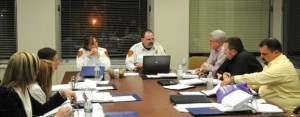 Naugatuck Fire Chief Ken Hanks and Deputy Chief Ellen Murray, seated at the head of the table, present the fire department's 2013-14 budget proposal to the Joint Boards of Finance and Mayor and Burgesses Monday night. –LUKE MARSHALL