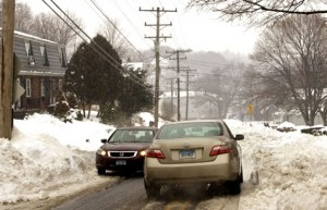Many streets in Naugatuck, like Cherry Street, are only plowed to one lane making it hard for cars to pass. –RA ARCHIVE