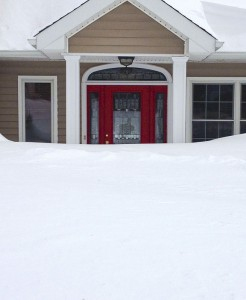 The snow blocked the front door of Bill and Shannon Kotsaftis' Prospect home.-CONTRIBUTED