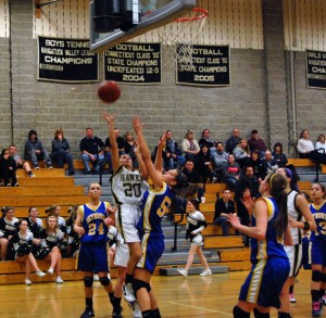 Woodland's Alma Rizvani (20) puts up a shot over Seymour's Cassie Tilton (55) Tuesday night in Beacon Falls. The Hawks won, 45-35. –KEN MORSE