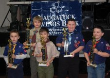 Naugatuck Cub Scout Pack 109 recently held its annual Pinewood Derby. The top winners of the derby, from left, were Nathan Rocheleau, Ethan Puc, Simon Carvalho, Andrew Zembruski and Alex Torrens. The Pack thanked Naugatuck Savings Bank for its support.-CONTRIBUTED