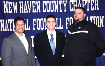Woodland Regional High School football player Anthony Scirpo, center, is pictured with his father Anthony Scirpo, left, and Woodland football coach Tim Shea. Scirpo is one of 26 high school and prep scholar athletes who will be honored during the 53rd Anniversary of the Gene Casey New Haven County Chapter of the National Football Foundation and College Hall of Fame scholar athlete dinner April 12 for academic excellence and citizenship in North Haven. Tickets are $45 and can be ordered by contacting Donna Limone at (203) 481-8375 or dpludlo214@aol.com. -CONTRIBUTED