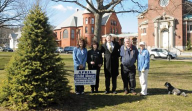 Naugatuck Mayor Robert Mezzo, center, proclaimed April Child Abuse Prevention Month in Naugatuck April 3 on the Town Green. The Naugatuck Exchange Club, which works to raise awareness of child abuse, is marking the month by keeping the tree lit on the Green with blue lights. This is the first year the club has lit the tree for awareness. Pictured with Mezzo from left, club members Nancy Bolton, President Julie Fernandez, Cliff Kiernan and Nancy Barton.-LUKE MARSHALL