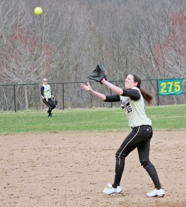 Woodland's Brianna Pacileo hauls in a pop fly Monday morning versus Wolcott in Beacon Falls. –ELIO GUGLIOTTI