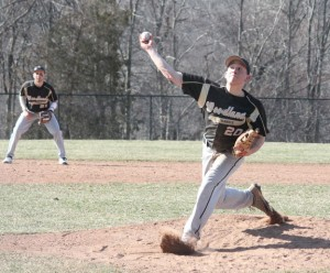 Woodland's Stephen Baeder delivers a pitch Monday afternoon versus Seymour in Beacon Falls. Baeder pitched a complete game and allowed six hits, but the Wildcats won 2-1. –ELIO GUGLIOTTI