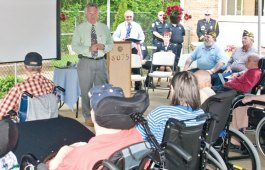 In honor of Memorial Day Paradigm Healthcare Center of Prospect hosted a ceremony for residents of the center who are veterans May 20. The ceremony featured a proclamation by Mayor Robert Chatfield, the retiring of an American flag, patriotic songs sung by the Prospect Senior Center Song Birds and the unveiling of a Wall of Honor. The Wall of Honor was designed to show the health center's appreciation of those who have served their country. –LUKE MARSHALL