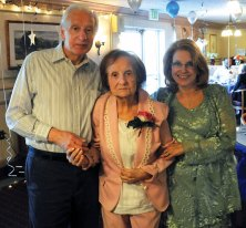 Adeline Triano, 101, center, was named the prom queen at Cheshire's Highlands Health Care Center's seniors prom April 24. Donald Triano, left, and Nancy Rasmussen, two of Adeline's children, accompanied their mother to the prom. Adeline Triano lived in Naugatuck for approximately 80 years and worked at the U.S. Rubber Company in the borough for 25 years, Rasmussen said. Adeline has four children, nine grandchildren, and four great-grandchildren. –LUKE MARSHALL