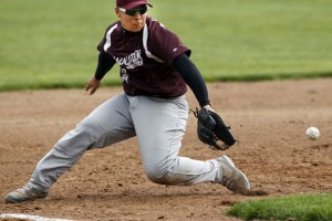 Naugatuck's Adam Tarvares backhands a grounder against Kennedy Wednesday afternoon at Rotary Field in Naugatuck. The Greyhounds fell to the Eagles, 4-3, but clinched a trip to the state tournament with a win over Crosby on Tuesday. –RA ARCHIVE