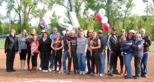 Naugatuck seniors Amy Dietz, Nina Kosciuszek, Gretchen Hale, Sarah Chandler and Sydney Cotto celebrate senior night with their families at Breen Field in Naugatuck Tuesday night. The Greyhounds earned a 12-0 win over Crosby. –KEN MORSE