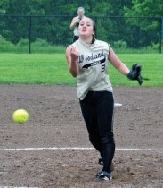 Woodland's Samantha Lee delivers a pitch Tuesday afternoon during the first round of the Class M softball tournament against Kaynor Tech in Beacon Falls. -LUKE MARSHALL