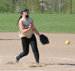Woodland's Samantha Lee fires a pitch May 2 versus St. Paul in Beacon Falls. Woodland won the game, 6-0. –ELIO GUGLIOTTI