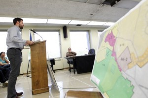 Sam Gold, assistant director at the Council of Governments of the Central Naugatuck Valley, addresses the Naugatuck Zoning Commission during a hearing at Town Hall Wednesday night on a proposed zone change. –RA ARCHIVE