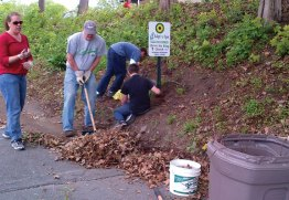 Members of Christ the King Church of Naugatuck led by Pastor Robert Butkus cleaned up the hill on Water Street May 18. The church adopted the spot as part of the Adopt-A-Spot program. For more information on the program, email Linda Ramos at lsrgigi3@aol.com. –CONTRIBUTED