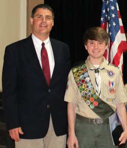 Eric McNulty, right, poses for a picture with Naugatuck Mayor Robert Mezzo at McNulty's Eagle Court of Honor on May 19. McNulty, a Boy Scout from Troop 138 in Naugatuck, earned his Eagle rank on April 1. –CONTRIBUTED