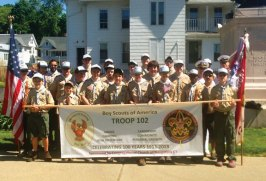 Naugatuck Boy Scout Troop 102 is celebrating 100 years of active service in the Boy Scouts of America this year. Members of the troop from the past, present, and those serving in the military gathered to march in the Naugatuck Memorial Day parade May 27. The troop, chartered by the Congregational Church of Naugatuck, participated in the parade sporting its new banner in the first of multiple events planned to celebrate this 100 year achievement. For more information on Troop 102, contact Joe Ascencao at (203) 723-7345 or Ray Blum at (203) 758-3832. -CONTRIBUTED