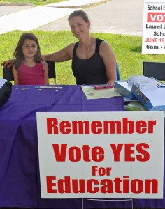 Beacon Falls resident Lisa Sizer and her daughter Colby, 5, sit outside Laurel Ledge Elementary School in Beacon Falls in support of Region 16's budget during a referendum on Tuesday. The $38.5 million budget passed by 478 votes. -LUKE MARSHALL