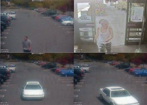 These surveillance photos show two suspects sought in connection with the theft of a purse Saturday at Stop & Shop in Naugatuck and their car. –CONTRIBUTED