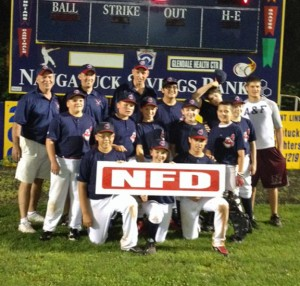 The Peter J. Foley Indians won the Little League's championship. Pictured, back row from left, coach Al Sagebdorf, coach Chip Delaney, coach Pete Ernsky, Ethan Contreras, TJ Cark and coach Mike D'Agnone. Middle row from left, David Green, Sean Twerian, Brayden Alves, Nate Delaney, Jonathan Chatfield and Mason Santa-Maria. Front row from left, James Bilsky, Nate Deptula and Derek Sampaio. –CONTRIBUTED