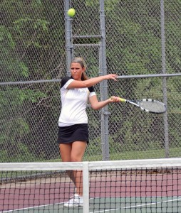 Woodland's Hope Gavigan, pictured, with doubles partner Liz Martin won NVL gold this year and qualified for the state open along with No. 2 singles player Rachel Mariano and the doubles team of Emily Rioux-Ayah Galal. –FILE PHOTO
