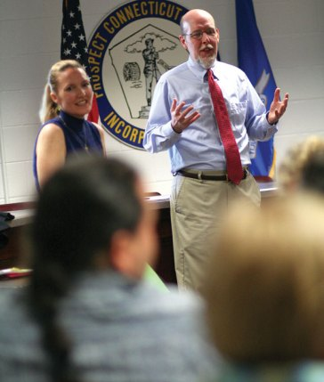State Sen. Joe Markley (R-16), right, talks about legislative issues at a forum June 17 at Prospect Town Hall as state Rep. Lezlye Zupkus (R-89) looks on. The legislators discussed state spending, gun-related bills, driver's licenses for undocumented immigrants, taxes, education funding for local schools and Connecticut's economy with the more than two dozen people who attended the forum. –CONTRIBUTED