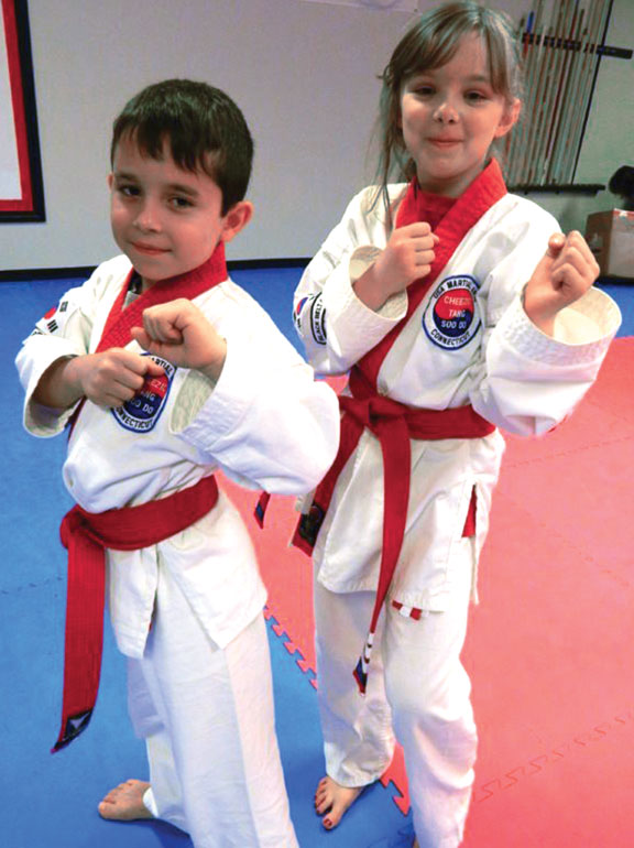 USA Martial Arts students Nate DiMatteo and Kathleen Robinson were promoted to the rank of Apprentice Black Belt in Tang Soo Do Karate on June 20. –CONTRIBUTED
