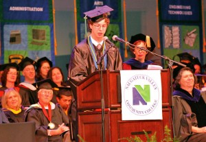 Jacob Dooling of Naugatuck speaks during Naugatuck Valley Community College's graduation ceremony at the Palace Theater in Waterbury in May. Dooling was honored as the Distinguished Student. –CONTRIBUTED
