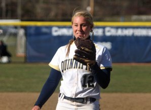 Former Woodland star pitcher Katie Alfiere made seven starts for Quinnipiac and threw two complete games this spring. -QUINNIPIAC UNIVERSITY