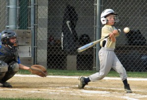 Zack Vartko of the Beacon Falls future stars connects for a single July 24 versus an all star team from Seymour at Pent Road Recreation Complex in Beacon Falls. –KYLE BRENNAN