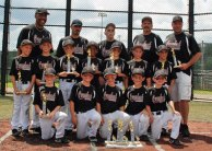 The Overlook Blacksox U8 team was crowned state champions of the Roberto Clemente baseball division recently at Municipal Stadium. They beat out Watertown, Cheshire, and Prospect to win the title and advance to the North Atlantic Regionals. Pictured, top row from left, manager Orlando Ortiz, assistant coach Darren Gasperri, assistant coach Mike Minervino, assistant coach Matt Bessette and coach Mike Brown. Middle row from left, Evan Swanson of Naugatuck, Vincent Borghese, Christian Watson, Jeremy Ortiz of Naugatuck, Ryan Delmonte, Mikey Deitelbaum of Naugatuck and Vinny Santopietro. Front row from left, Isiah Shaw, Logan Bessette, Logsn Brown, Andres Effes and Darren Gasparri of Prospect. –CONTRIBUTED