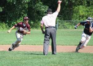 Post 17's Jason Bradley tosses the ball to second base to double up Danbury's Ryan Rivas Sunday afternoon at Rotary Field in Naugatuck. Post 17 won the game, 1-0. –ELIO GUGLIOTTI