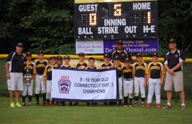 The Prospect 9-10 Little League All Stars were eliminated from the state tournament last week. The District 3 championship team included, from left, coach Darren Bedard, Jason Claiborn, Vinny Denze, Jack Lawlor, Drew Shea, Matthew Belcher, Trey Mastropietro, Caleb Shirk, Ryan Montini coach Jason Claiborn (in back), Austin Bedard, Jacob Theroux, Kyle Simpson, Hunter Laudate and coach Paul Belcher. –CONTRIBUTED