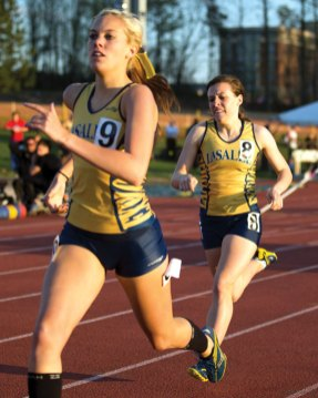 Tori Pisco (9), a former All-New England athlete at Naugatuck, led La Salle's 4-by-800-meter relay squad to a second-place finish at the Atlantic 10 Championships. -TOM CONNELLY