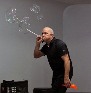 The Prospect Library sponsored Bubble Trouble with Jeff Boyer of Jeff Boyer Productions Aug. 1 at the Prospect Grange. -ELIO GUGLIOTTI