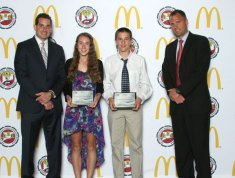 Kelly Murphy and Tyler Deitelbaum from City Hill Middle School in Naugatuck were recognized as the state's top scholar leaders June 3 at the 2013 Connecticut Association of Schools Scholar Leader Banquet. The award is presented to one male and one female student in each middle school whose record of academic achievement and service have been truly exemplary, whose personal standards and accomplishments are a model for others and who possess high levels of integrity, self discipline, honesty and courage. Pictured with the students are McDonald's owner/operator John Haskos, left, and East Hartford Superintendent Schools Nathan Quesnel. –CONTRIBUTED
