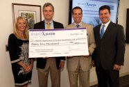 Project Purple recently awarded a $35,000 grant to Beth Israel Deaconess Medical Center in Boston to establish the Project Purple Pancreatic Cancer Research Fund. The fund's mission shall be used only for pancreatic cancer research. Project Purple, founded by Beacon Falls resident Dino Verrelli, is a nonprofit organization with a mission of raising awareness and funds towards a cure of pancreatic cancer. 'This fund follows in our mission of helping to find a cure for pancreatic cancer and we are super excited to be partnering with the amazing staff at Beth Israel Deaconess Medical Center as well as one of the leading pancreatic surgeons in the world in Dr. A. James Moser,' Verrelli said, Pictured from left, Susan Hurley with Project Purple, Moser, Verrelli and Dr. Bret Schipper of Project Purple. –CONTRIBUTED
