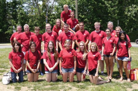 Jacob Nemec of Beacon Falls (fifth from the left in the second row) was among 22 members of Sstomp, a local Catholic youth and adult group with members from Oxford, Seymour and Southbury, who traveled to Keansburg, N.J. the second week of July on a mission trip with Group Workcamps to help residents of the region devastated by Superstorm Sandy. More than 300 teens and adults from across the country camped out in Keansburg High School classrooms and participated in over 60 home repair and construction projects for the elderly, disabled and disaster-stricken residents of the area. Members raised funds and/or paid the $470 cost of the trip out of pocket. For more information, visit GroupMissionTrips.com. -CONTRIBUTED