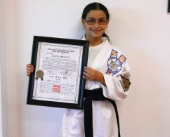 Sokol's Taekwondo student Elaine Abrantes was recently promoted to first degree Black Belts. -CONTRIBUTED
