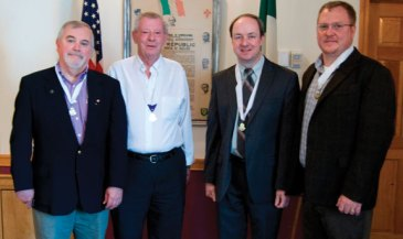 Naugatuck Ancient Order of Hibernian member John Wiehn was recently elected as president of the Connecticut State Ancient Order of Hibernian for a two-year term at the Hibernians' state convention in Glastonbury. Wiehn, a member of the Naugatuck Division of the AOH for the past 17 years, is the first person in the 144 year history of the Connecticut Hibernians to have held all of the elected state offices. Pictured, from left, Tom Keane, state AOH vice president, William Scully Jr., state AOH treasurer, Wiehn and Chris Boyle, state AOH secretary. -CONTRIBUTED