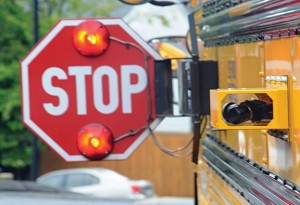Three Naugatuck school buses are equipped with cameras like the one pictured above to catch motorists who do not stop for school buses. –LUKE MARSHALL