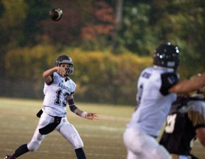 Naugatuck High School junior quarterback Jason Bradley, who threw for 26 touchdowns and 1,492 yards last season, and the Greyhounds begin practice on Monday. –RA ARCHIVE